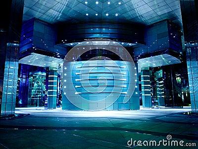 Moderne Büro-Hall-Blau-Tönung