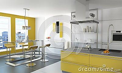 moderne gelbe k che lizenzfreie stockfotografie bild. Black Bedroom Furniture Sets. Home Design Ideas