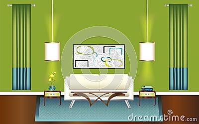 Moderne groene en blauwe woonkamer royalty vrije stock afbeelding afbeelding 13077416 - Afbeelding eigentijdse woonkamer ...