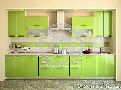 Moderne groene keuken royalty vrije stock afbeeldingen ...