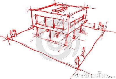 Moderne haus skizze vektor abbildung bild 67808957 for Modernes haus skizze