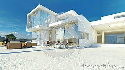 Moderne hoekige luxe tropische villa stock illustratie afbeelding 41216258 - Eigentijds buitenkant terras ...