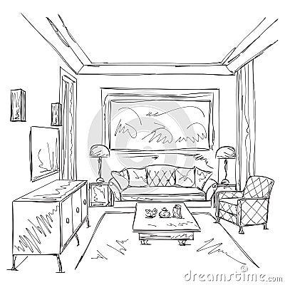 Moderne Innenraumskizze Hand gezeichneter Stuhl und Möbel.