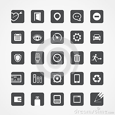 Moderne vierkante Webpictogrammen