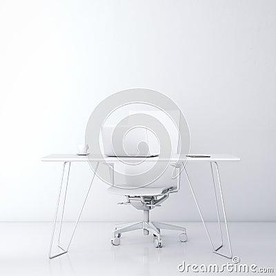 Moderne werkplaats in het bureau met witte muur stock foto afbeelding 50580402 - Binnenkleuren met witte muur ...