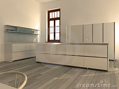 Witte Minimalistische Moderne Keuken Royalty-vrije Stock ...