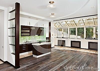 Moderne woonkamer en keuken met donkere vloer stock afbeelding afbeelding 12794791 - Woonkamer en moderne keuken ...