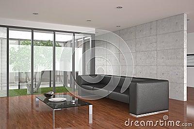 Moderne woonkamer met rode muur en betegelde vloer stock afbeeldingen beeld 19548344 - Moderne betegelde vloer ...