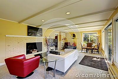 Moderne woonkamer met witte en rode banken stock foto afbeelding 42181656 - Moderne eetkamer en woonkamer ...