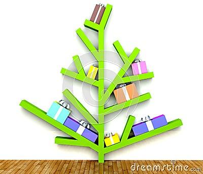 moderner weihnachtsbaum mit geschenken auf zweigen. Black Bedroom Furniture Sets. Home Design Ideas