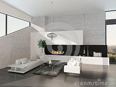 Luxushausinnenraum. Steinwand Mit Kamin Stockfoto - Bild: 39963046