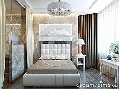Modernes Schlafzimmer-Innenarchitektur Mit Weißen Möbeln Stock ...