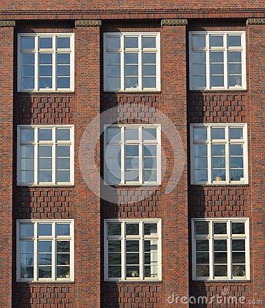 Modernist red brick facade in Hamburg
