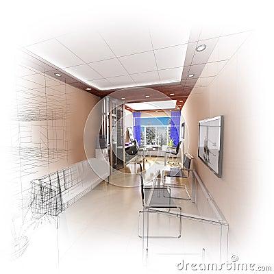 Modernt kontor 3d
