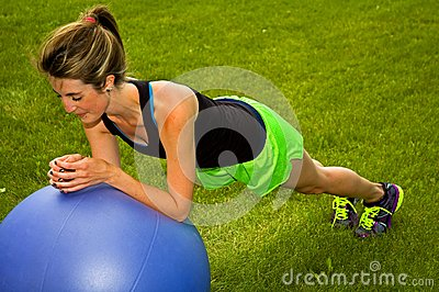 Modified Plank with an exercise ball