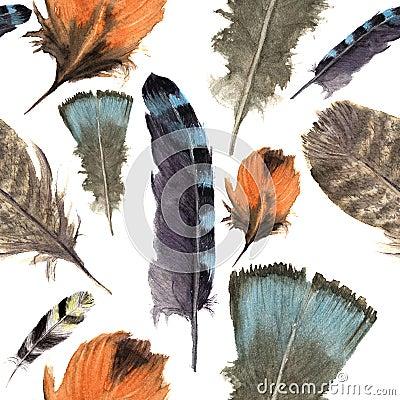 Mod le de boho de plumes d 39 oiseaux d 39 aquarelle texture sans couture avec les plumes tir es par - Signification des plumes d oiseaux ...