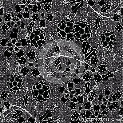 mod le de fleurs sans couture sur les points noirs l 39 arri re plan illustration stock image. Black Bedroom Furniture Sets. Home Design Ideas