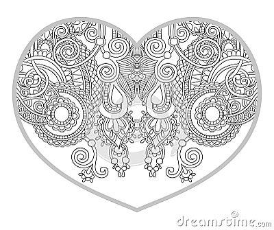 Mod le en forme de coeur pour livre de coloriage adulte et plus ancien d 39 enfants illustration de - Dessin en forme de coeur ...
