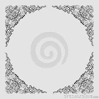 Modèle floral cadre-gris