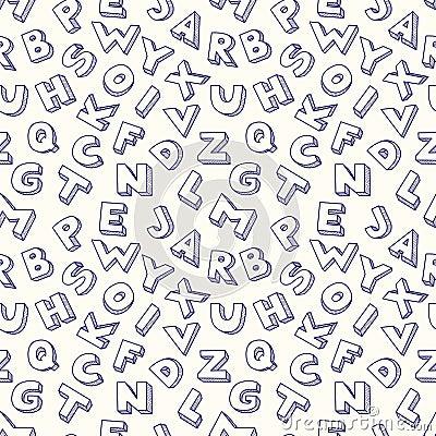 Modèle sans couture d alphabet de griffonnage.