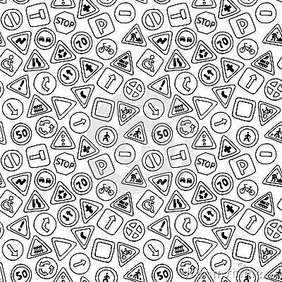 Mod le sans couture des panneaux routiers illustration de vecteur image 57 - Papier peint bande dessinee noir blanc ...