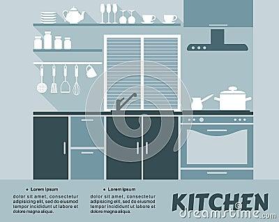 Modular Kitchen Interior In Flat Design Stock Vector