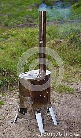 Modular wood-burning stove for tourism
