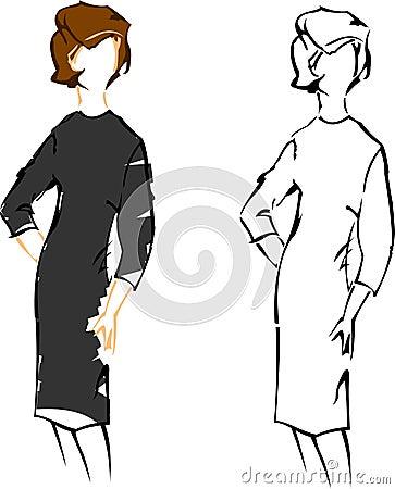 Mody dziewczyny retro nakreśleń rocznik