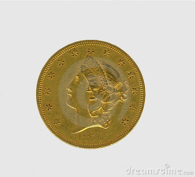 Moeda antiga do ouro dos EUA $20