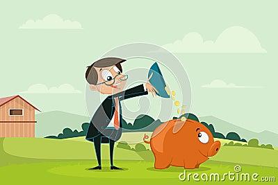 Moeda de derramamento do homem de negócios em Piggybank