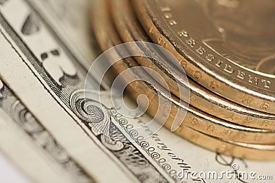 Moedas & contas abstratas do dólar de E.U.