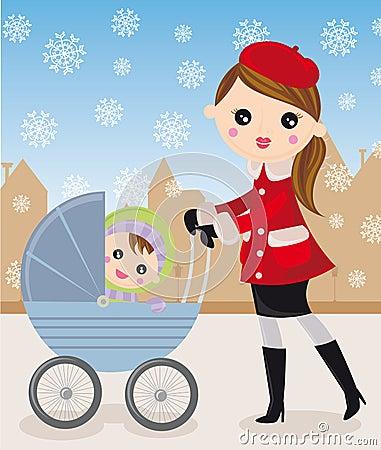 Moeder en kinderwagen