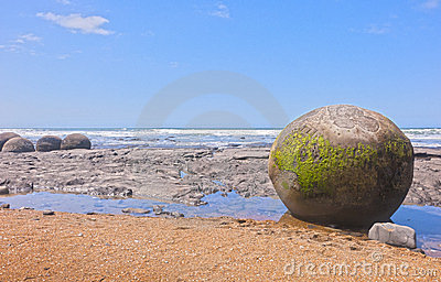 Moeraki boulders on New Zealand beach