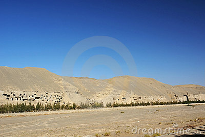 Mogao grottoes with blue sky