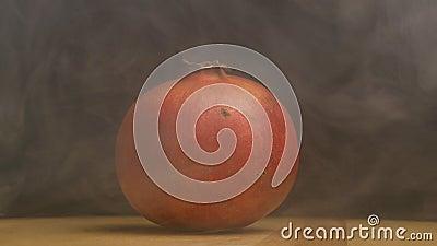 Mogen roterande granatäpplefrukt från vilken avdunstning och friskhet var på en svart bakgrund, närbilden, ultrarapid stock video