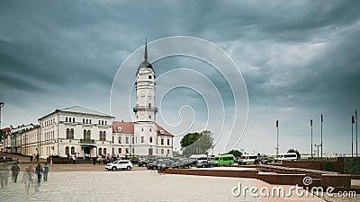 Mogilev, Belarus Ville Hall Is Famous Architectural Landmark et héritage dans la ville Mahilyow banque de vidéos