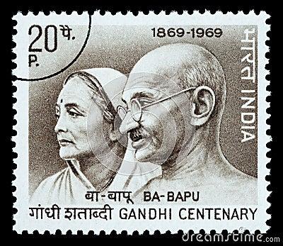 Mohandas Karamchand Gandhi Postage Stamp Editorial Stock Photo