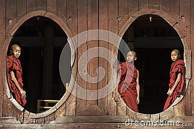 Moines de novice - Nyaungshwe - Myanmar Image éditorial