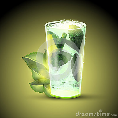Mojito cocktail or drink with limes and mint