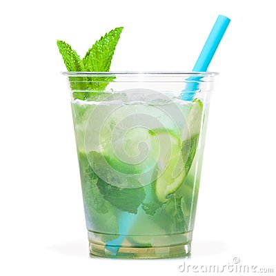 Free Mojito Cocktail In Plastic Cup Royalty Free Stock Photo - 120717855