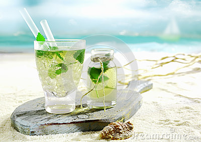 Mojito cocktail served on a tropical beach