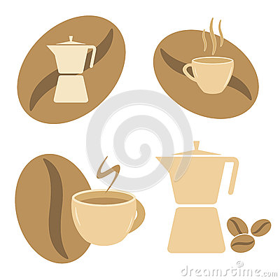 Mokka pot, coffee cups and beans