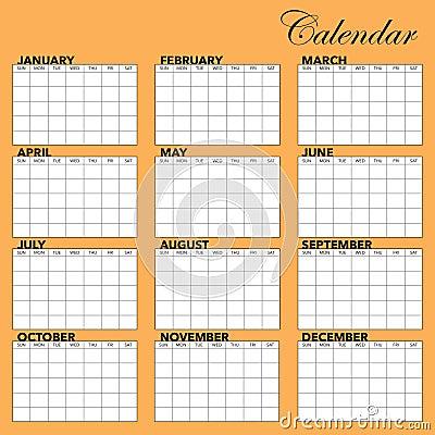 Molde do calendário