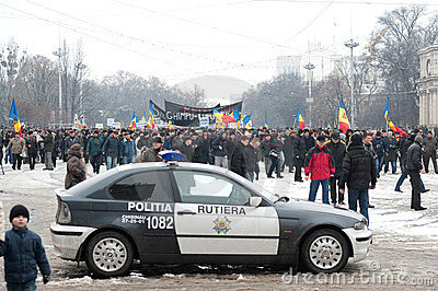 Moldova - Anti-government demonstration march. Editorial Stock Image