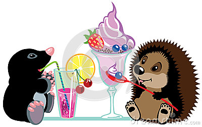 Mole and hedgehog eating desserts Vector Illustration