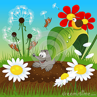 Free Mole In The Ground And Insects Royalty Free Stock Photo - 39070935
