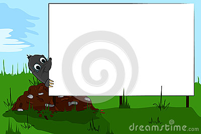 Mole on molehill looking at a billboard.