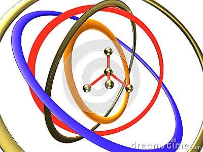 Molecule in the centre of orbits