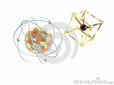Iron atom 3d model molecule and iron atom