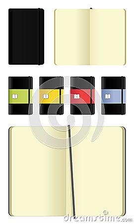 Free Moleskine Notebooks Icons Set Royalty Free Stock Photography - 12831787